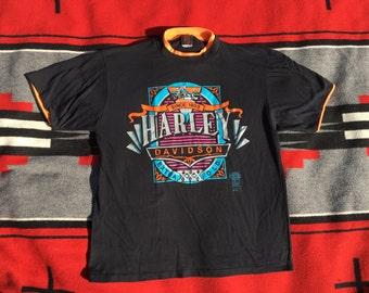 Vintage 70s HARLEY DAVIDSON biker T shirt neon