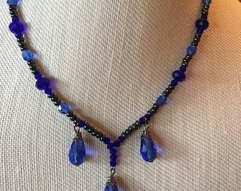 Blue glass teardrop necklace