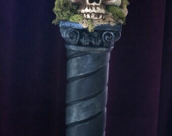Skull Bone Head, Skull on a pedestal, Skull Halloween, Skull Styrofoam, Skull on Pedestal, Skull, Halloween Skull, Human Skull