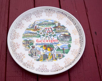 Vintage Georgia State Plate Gold Filigree Border Souvenir State Plate