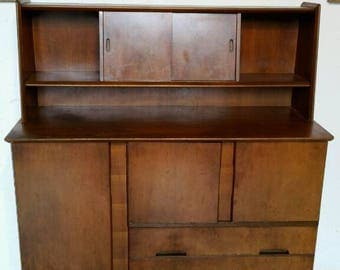 Retro Mid-century Walnut High Back Sideboard