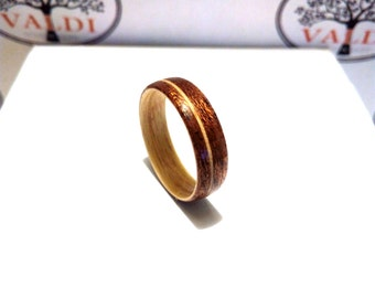 Wooden Ring. Bentwood Ring. Handcrafted Wood  Ring. Walnut and Maple wood
