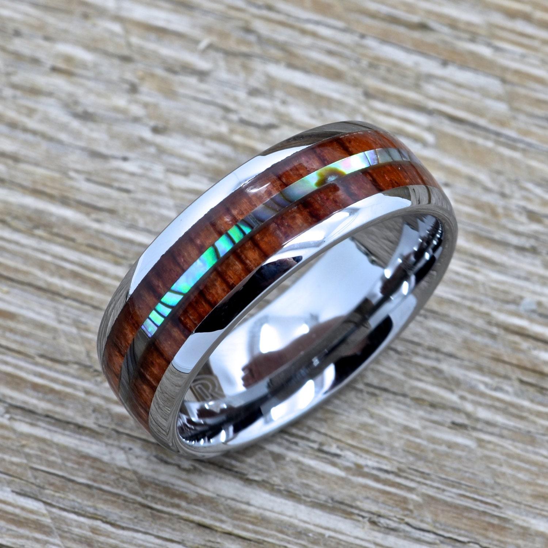 Men's Tungsten Ring With Abalone Inlay Hawaiian Koa Wood