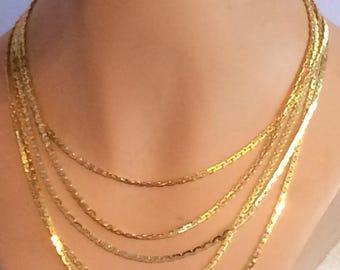 Goldette NY Multistrand Flat Goldtone Chain Necklace