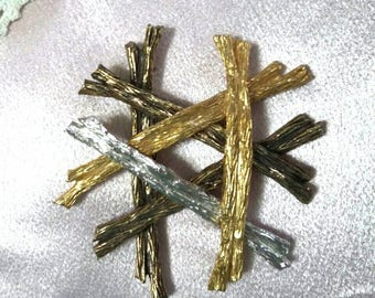 Castlecliff gold bronze and silver branch brooch