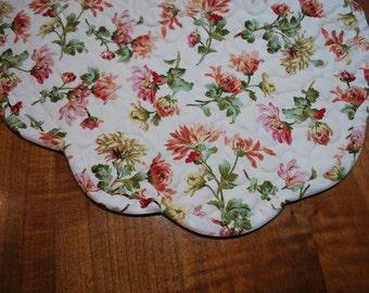Handmade Scalloped Floral Table Runner