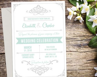 Rustic Wedding Invitation Set, Vintage Wedding, Rustic Wedding, Printable Wedding, Invitation template, Wedding invitation, DIY wedding
