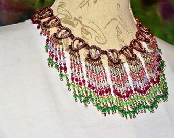 Vintage Inspired Beaded Necklace with Earrings