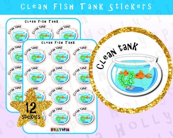 12 Clean Fish Tank Planner Stickers, Cleaning, Chores, Fish, Pet,  Perfect for your Happy Planner, Erin Condren, Filofax, etc, UK
