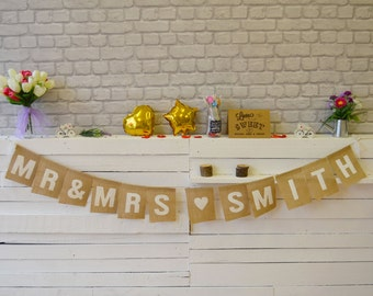 Personalized Mr & Mrs Name, Burlap Bunting, Personalized Garland, Hessian Banner, Square Large Flags, Personalized Name
