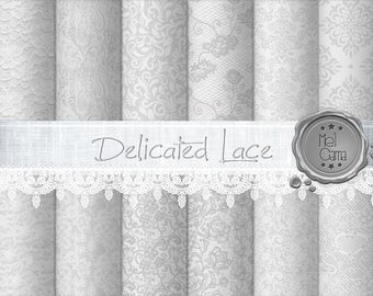 Delicated Lace digital paper / Digital Lace for scrapbooking, birth, baptism, birthday, wedding / Gray Damask / Instant Download