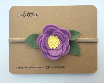 Purple Felt Flower Headband, Sprout Headband Purple and Yellow, Baby Headband