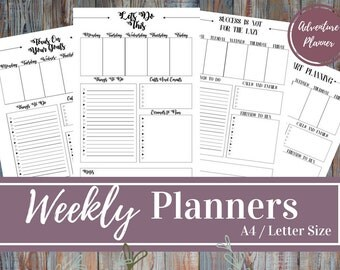 Weekly Planner - PDF Printable  With 4 Different Headings, Personal Planner, Business Planner, Productivity, Life, 2 Sizes: A4/ Letter Size