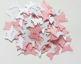 Handmade butterfly confetti in pink and white 200 pieces