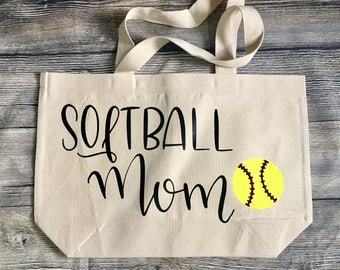 Canvas Tote 21x14 Market Bag Softball Mom