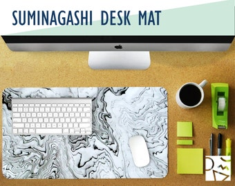Suminagashi Desk Mat with Available Custom Monogram - 2 Sizes - High Quality Digital Print, Extended Mouse Pad - Desk Accessory