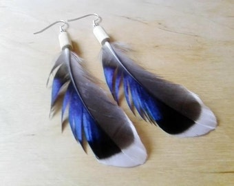 Duck Feather Earings - jewellery natural pagan shaman druid witch wiccan heathen hipster