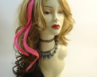 """Set of TWO 15"""" Clip-In Human Hair Streaks, Hot Pink"""