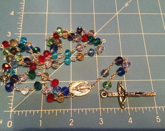 Multi color glass bead rosary