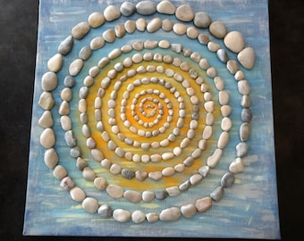 Tableau acrylique avec les pierres/ Labirynthe blue III