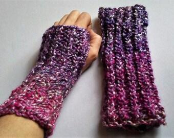 Purple, Fingerless Gloves/Mittens, Chunky Knit