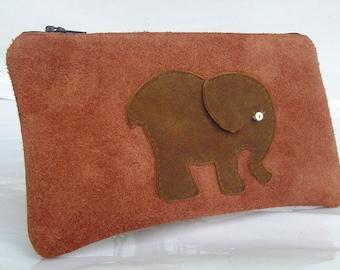 Leather pencil case & elephant Neli