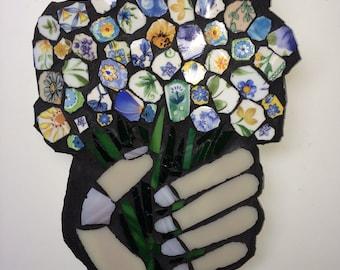 Mosaic 'Handful of Flowers'  Wall Art