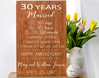Anniversary Gift, 30 Year Anniversary, 30 Anniversary Gift, Pearl Anniversary Anniversary Print, Gift for Couples, Anniversary Sign
