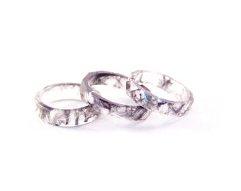 Artistic Black, a beautiful handmade ring with black swirls, resin ring, epoxy ring, unique gift, cool ring, romantic, MukWuk, wedding ring