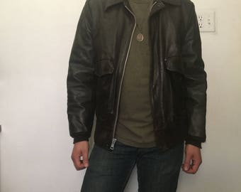 Sears Leather Shop 80's Brown Leather Jacket Size 40