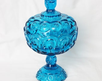 LE Smith Colonial Blue Moon and Stars Comport Compote Candy dish with Lid