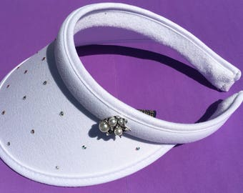 Women's golf visor with bling and swarovski diamante gems and pearls, white and clip-on