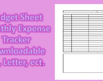 Budget Printable Sheet, Finance Sheet, Instant Download