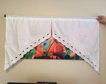 Swag Valance Curtain Panels with Appliqued Design and Cutouts 1980's