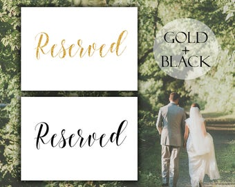 Printable gold Reserved sign Calligraphy reserved sign Wedding reserved sign Printable Wedding sign Wedding reception sign Gold wedding sign