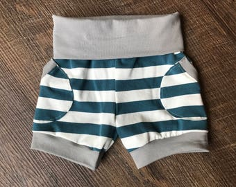 Organic cotton knit baby summer shorts/children clothing/Organic summer clothing/baby shorts/Organic baby clothing
