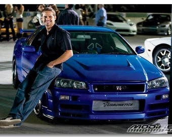 Paul Walker Blue Car Fast And Furious Race Movie Creative Gift Poster Decoration Wall Home