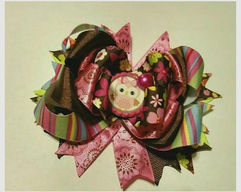 Owl Hair Bow, Pink Owl Bow, Owl Bow For Baby, Boutique Owl Bow, Pink And Brown Hair Bow