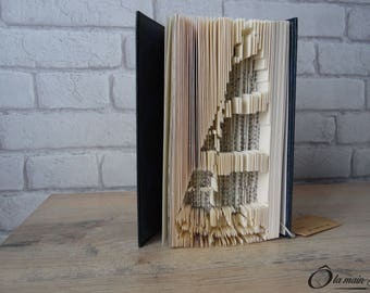 """Book Art """"in waves"""" - decorative object from a book - Collection A open book"""