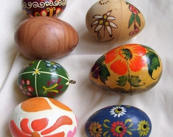 Painted wooden vintage eggs