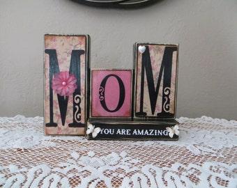 Mom Wood Blocks Mother's Day Mom Children Family Birthday Gift Love Lifetime