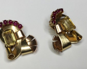 Estate Retro 14K Yellow And Rose Gold 9CTW Citrine & Ruby Clip On Earrings 14 Gram