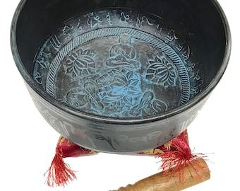 Tibetan 3 Buddha Lotus Singing Bowl With Stick and Cushion(950gms,21cmDiameter)