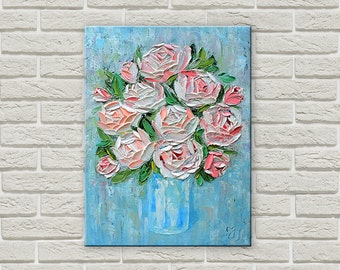 Bouquet of roses - Original Oil Painting on canvas, palette knife flowers, Roses, bouquet of flowers, home decor, shebby-chic