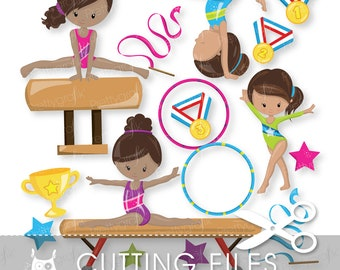Gymnastic Girls cutting files, svg, dxf, pdf, eps included - gymnastic cutting files for cricut and cameo - Cutting Files SVG - CT914