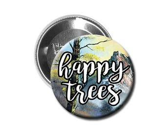 "Bob Ross - Pinback Button/Badge (1.25"") - HAPPY TREES"