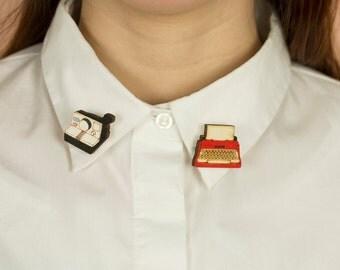 Wooden COLLAR PINS, lasercut: POLAROID and Typewriter