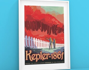 Kepler-186f | NASA Poster Visions of the Future poster, Space Tourism Giclée Print of Kepler Planet