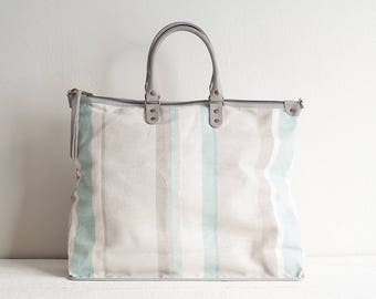 Linen and Leather Tote Bag, Linen Tote Bag with Pockets, Large Diaper Bag, Linen Bag, Beach Bag, Linen Handbag, Large Zipper Tote Bag, Gift
