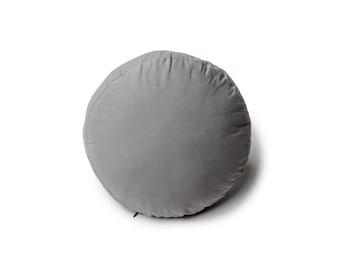 Modern Gray Round Throw Pillow, Round Decorative Pillow, Round Cushion, Gray Round Pillow, Nursery Decor, Kids Room Decor, Floor Pillow